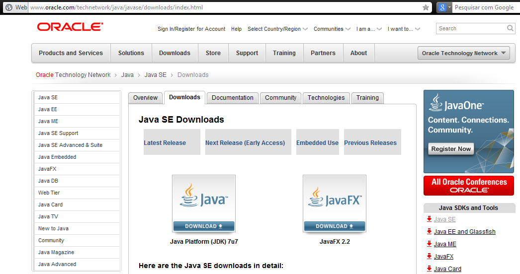 Download JDK da Oracle