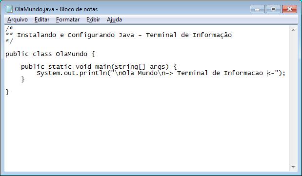 Edição de programa Java