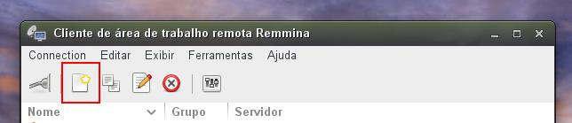 Remmina, destacando na imagem o botão de Nova Conexão