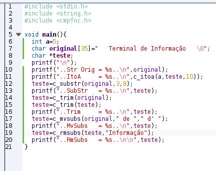 Exemplo de programa usando a cmpfnc.h