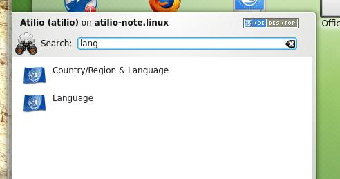Procurando por 'lang' para configurar a Linguagem