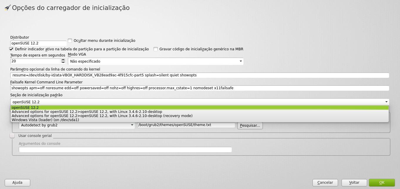 Edição do GRUB2 - YaST2 Boot Loader
