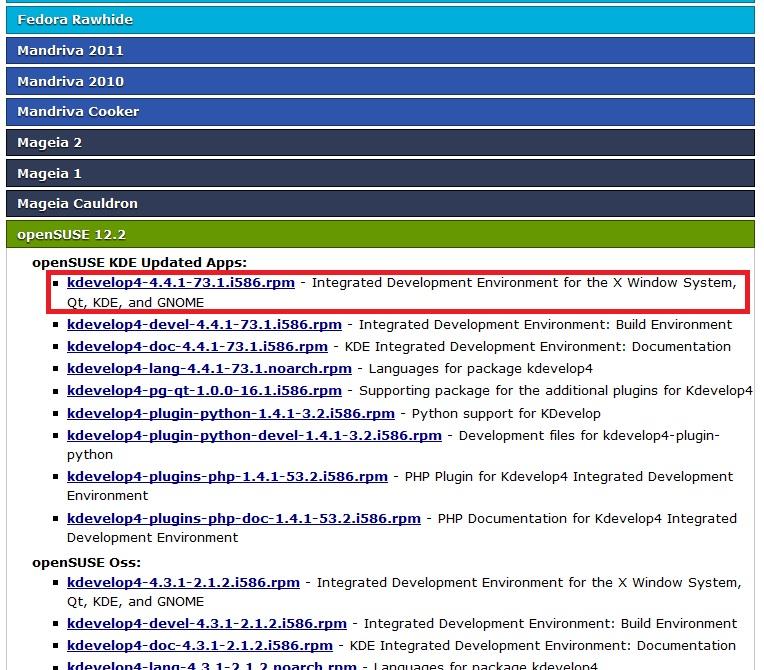 Procurando o aplicativo desejado (distro OpenSUSE 12.2)