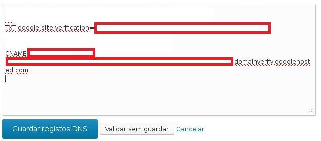Exemplo da Indexação no Google no DNS do WordPress