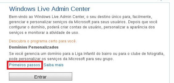 Acessando o Windows Live Admin Center