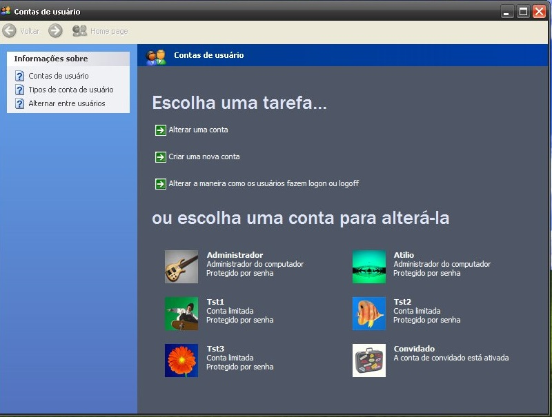 Contas no Windows