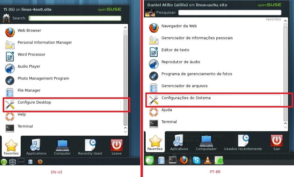 Configurações do Sistema - KDE