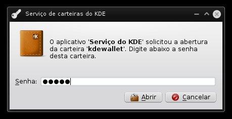 Confirme a senha do KDE Wallet