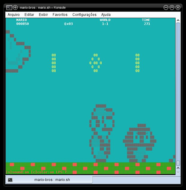 Mario Bros Shell Script - Tela Colorida