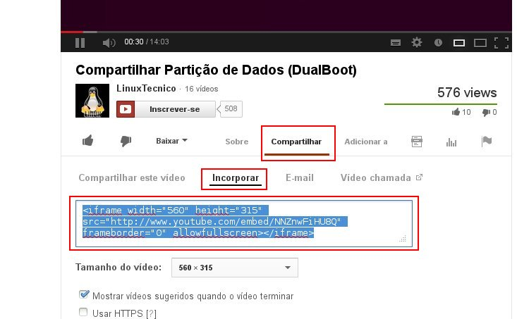 Adicionando vídeo - YouTube
