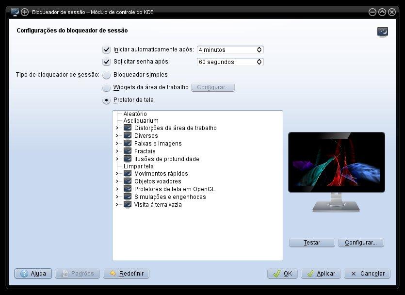 Bloqueador de Sessão no KDE