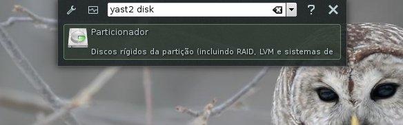 Executando comando 'yast2 disk'