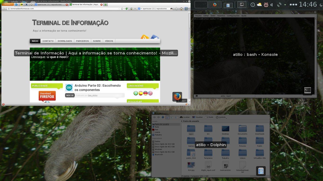 Grelha do KDE sendo ativada