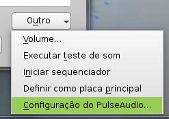Acessando as configurações do PulseAudio