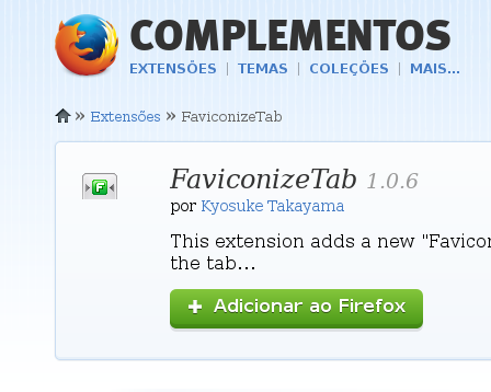 Extensão FaviconizeTab