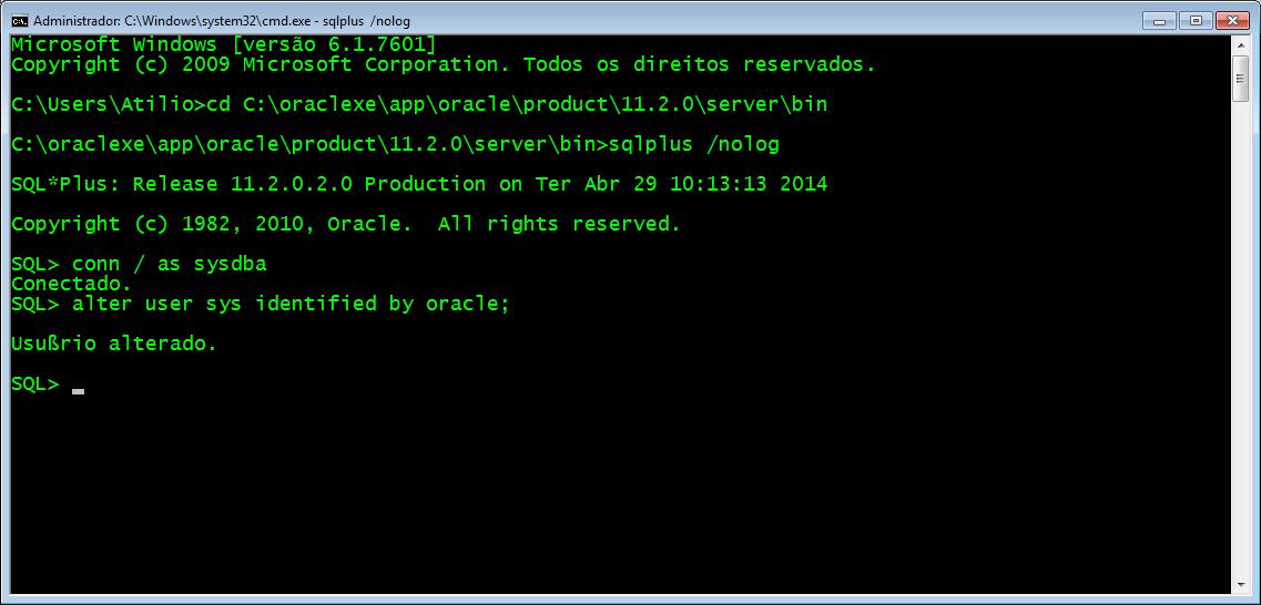 Recuperando a senha em Oracle