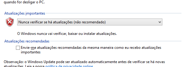 Configurações do Windows Update