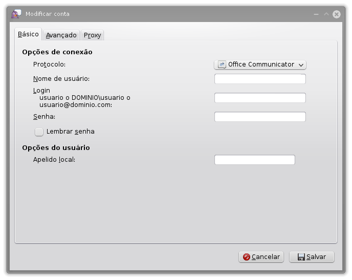 Configurando conta Office Communicator