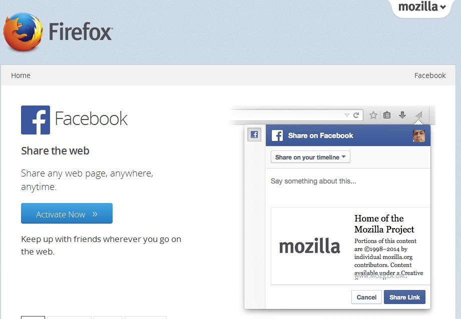 Selecionando o serviço do Facebook