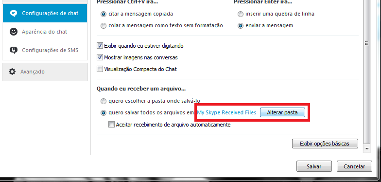 Alterando a pasta de Downloads