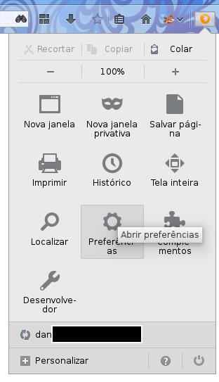 Abrindo as preferências do Firefox