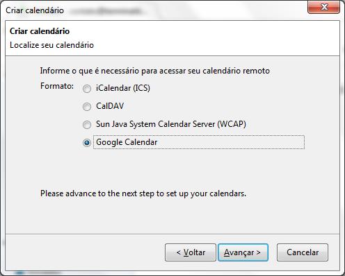Selecionando a opção Google Calendar