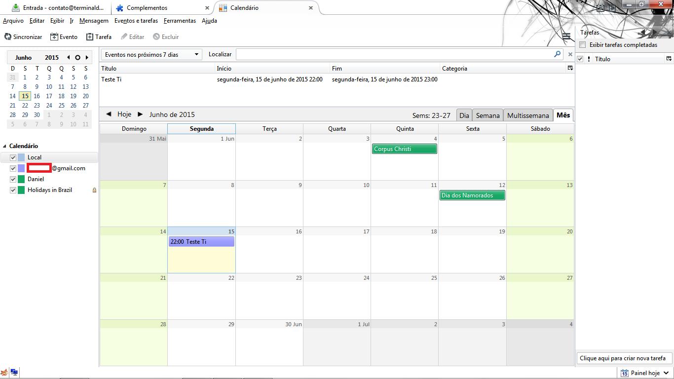 Editando calendário pelo Thunderbird