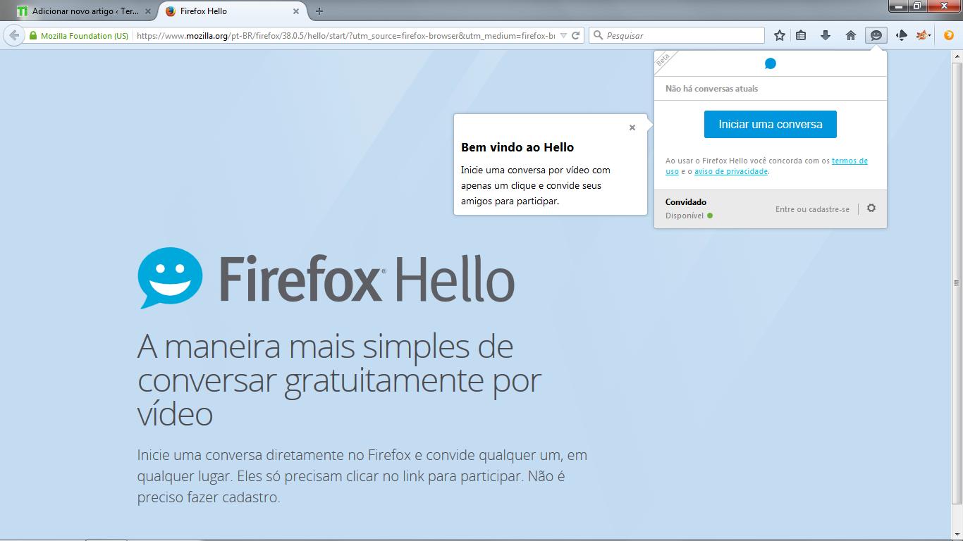 Aba do Firefox Hello