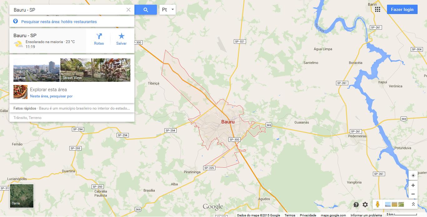 Procurando uma região ou endereço no Google Maps
