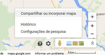 Utilizando a opção de Incorporar Mapa