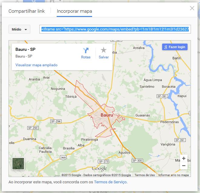 Verificando link gerado para Incorporar Mapa