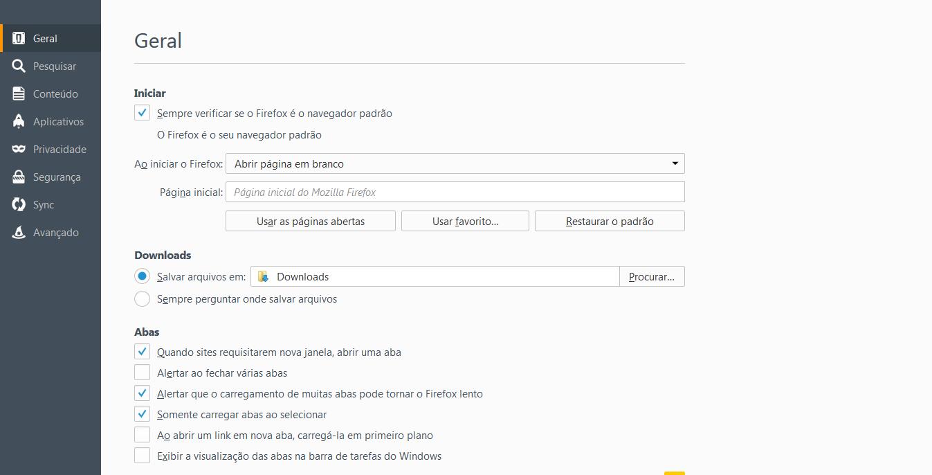 Configurações do Firefox