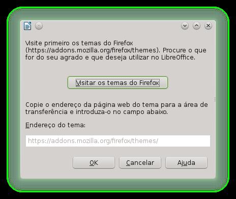 Tela para seleção de Temas no LibreOffice mais antigo