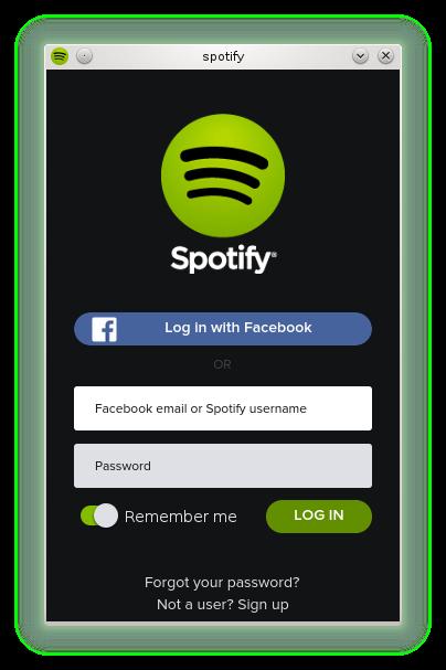 Tela de Login do Spotify rodando no OpenSUSE