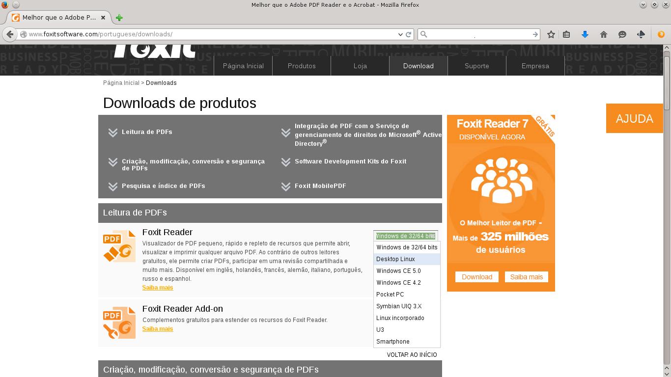 Baixando o Foxit para Linux