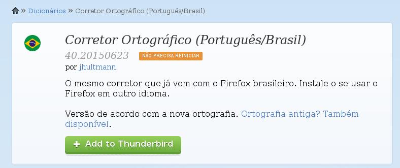 Adicionando o corretor ortográfico no Thunderbird