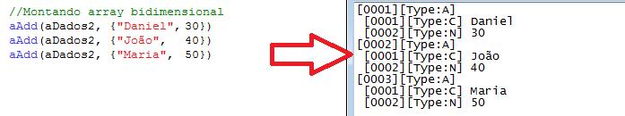 Exportação de Array Bidimensional