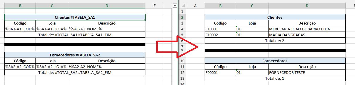 Exemplo de Clientes / Fornecedores