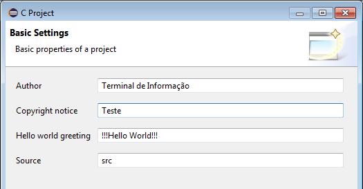 Definindo propriedades do Projeto
