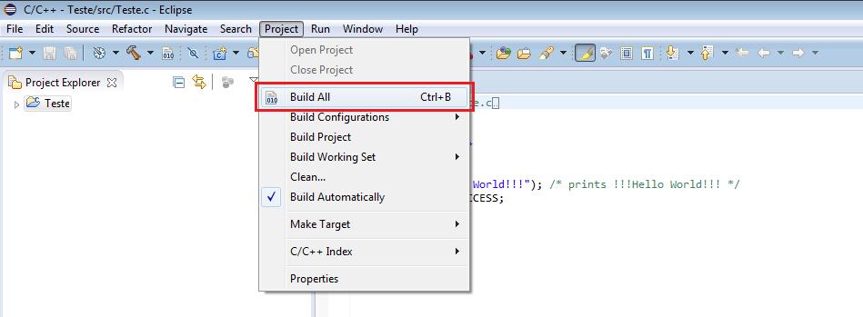 Utilizando o Build All, para compilação dos fontes