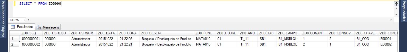Exemplo de Log customizado