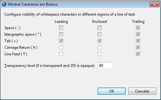 Escolhendo os caracteres que serão mostrados