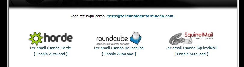 Escolhendo a opção para o webmail