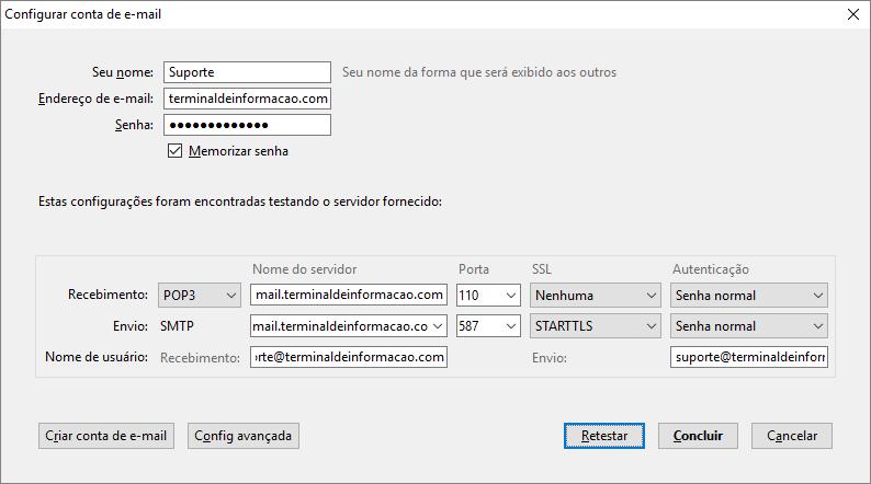 Parametrizações da conta de e-Mail