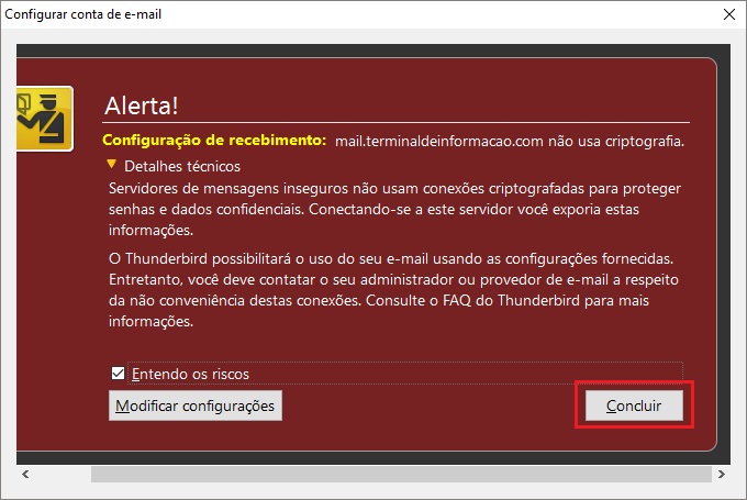Alerta ao configurar o e-Mail