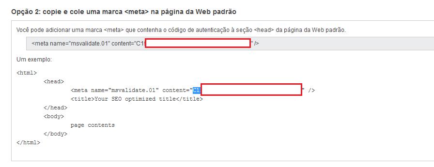 Opções do Bing