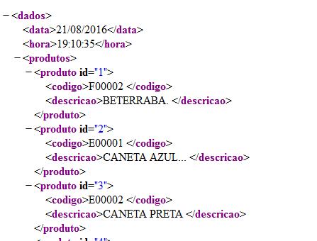 Arquivo XML gerado