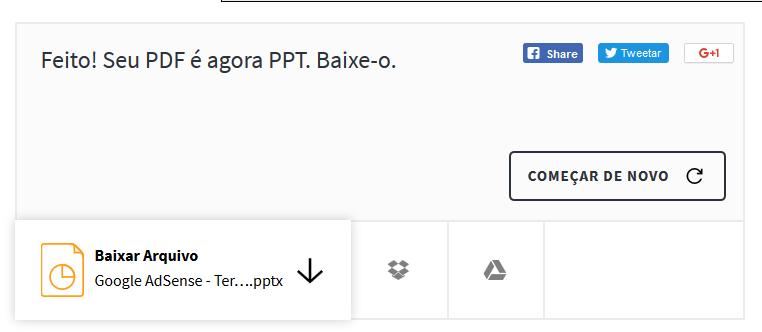Tela com arquivo PPT já gerado pronto para download