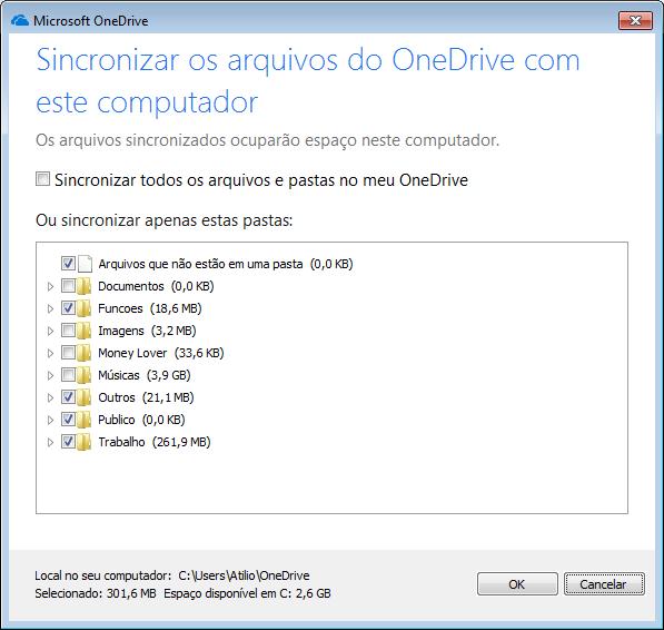Pastas do OneDrive