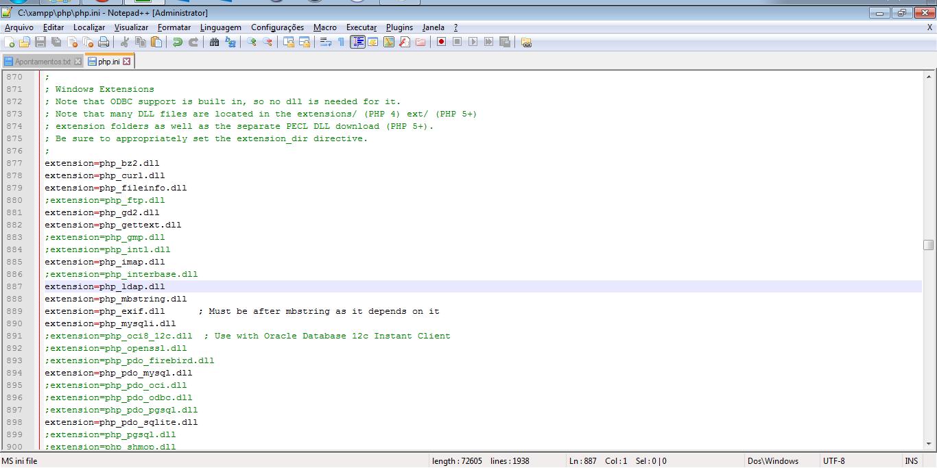 Editando o php.ini